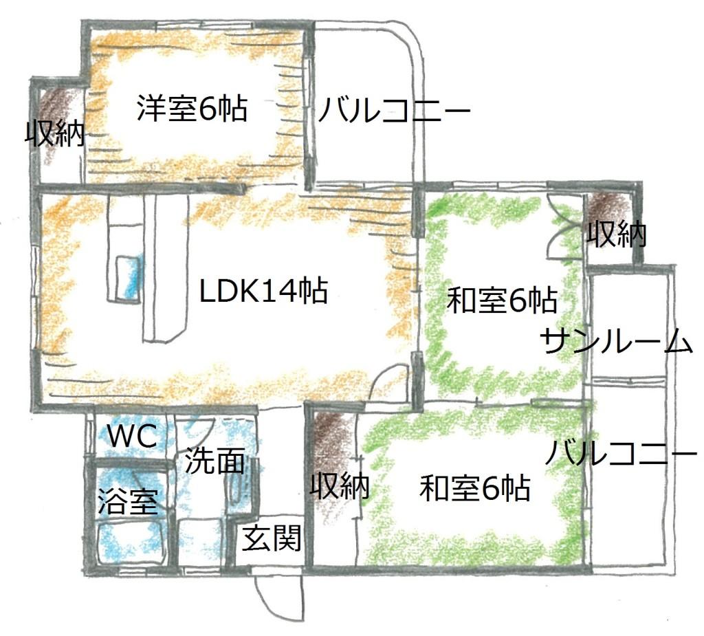 サンルーム横の和室は洋室にリフォーム済み